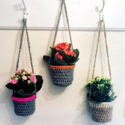 Three crocheted plant pots
